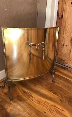 Vintage Antique Art Nouveau Brass Fire Screen Stand