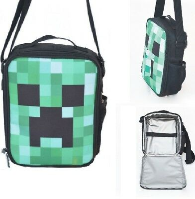 UK Minecraft Insulated Grass Lunch Bag Girls Boys School Snack Box Backpack gift