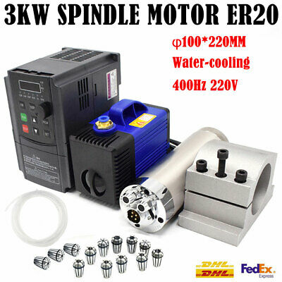 4KW VFD Inventer+ER20 3KW Spindle Motor CNC Water Cooled+15pc Collet+Φ80 Bracket