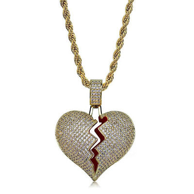 ICED-Out Gold Broken Heart Pendant Cross Stainless Steel Rope Chain Necklace