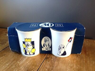 Collectable Boxed Pair Of 2 Dulux Dog Mugs 30Th Birthday - Old English Sheepdog