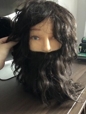 Man Mannequin Head Dummy Hairdressing Training Model Doll 100% Real Human Hair