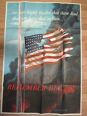 "Original Ww2 Poster.  ""remember Dec. 7Th."" Pearl Harbor  Home Front. Flag"