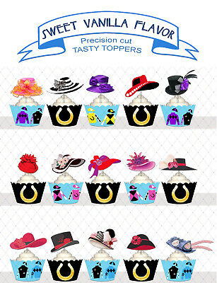 Melbourne Cup ladies hats Pony CLUB horse RACING Party Cupcake Toppers cup cake