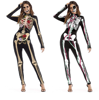 Womens Halloween Costume Skeleton Jumpsuit Cosplay Fancy Party Dress for Adult