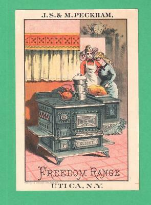 Antique Trade Card Peckham Freedom Range Utica, Ny Ladies Turkey Kitchen Stove