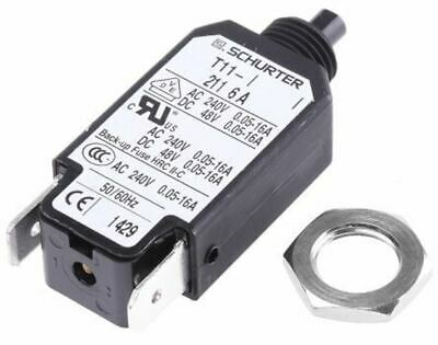 Schurter 6A 1 Pole Thermal Magnetic Circuit Breaker, 240V ac T11