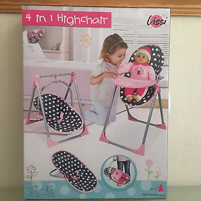Lissi ROSA 4 IN 1 DOLLS HIGHCHAIR , SWING , CARRIER & CHAIR KIDS GIRL GIFT SET