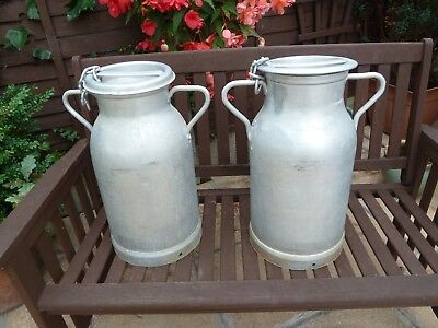 Pair of Vintage French Aluminium Milk Churns Both with Lids and Chains