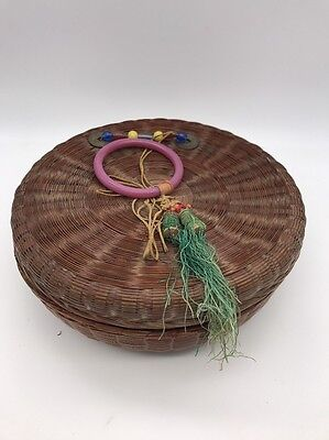 Asian Vtg Sewing Basket W/ Lid Woven Decorated Round Wicker & Contents (#6834)
