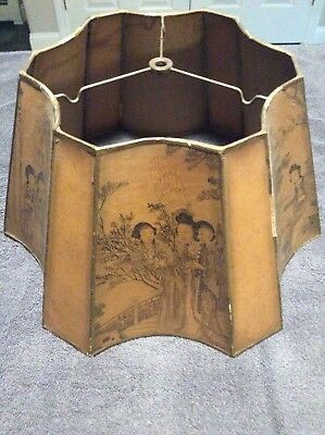 Antique Lamp Shade with Oriental Scenes Hand Made by DeBONO