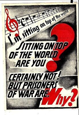 "Rare WW2 Propaganda Leaflet,Original Ital theatre, Music"", from large Collection"