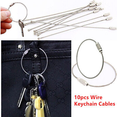 10PCS Stainless Steel Wire Keychain Cable Key Ring for Outdoor Hiking Camping AZ