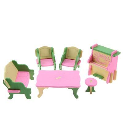 5X(1 set Baby Wooden Dollhouse Furniture Dolls House Miniature Child Play Y6X2)