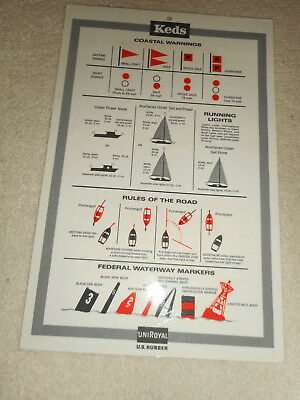 Vintage KEDS UNIROYAL U.S. RUBBER Coastal Warning Safety Checklist 1968 Ephemera