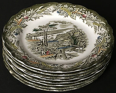 Set Of 8 Ridgway Early Canada The Rideau Canal Bytown 6 & 3/4 Inch Dessert Plate