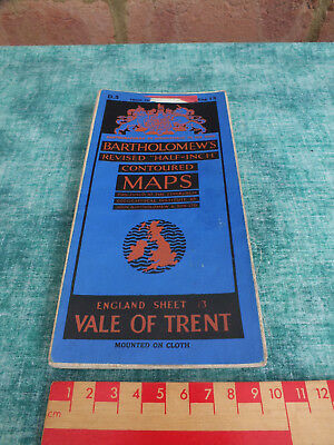BARTHOLOMEWS REVISED HALF INCH MAP ~ No 3  ~ VALE OF TRENT ~ ON CLOTH