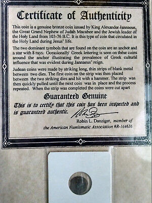 Certified Genuine Widows Mite Ancient Coin with Deluxe Portfolio Holy Land Bible