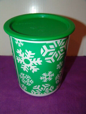 Tupperware Holiday Canister Christmas Design Green Seal -EUC