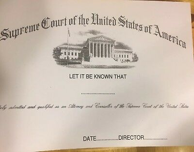 Supreme Court Certificates - Comes Blank. Fill In Own Info.