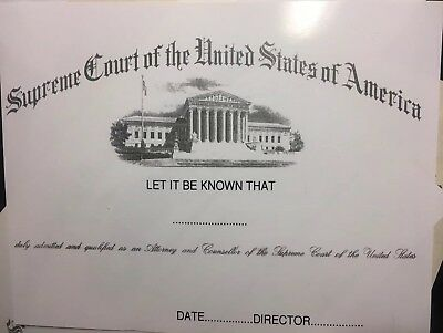 Man Cave - U. S. Supreme Court Certificate. Comes Blank. Fill In Own Info.
