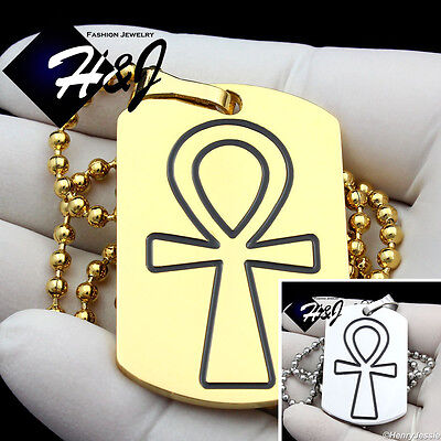 """30/""""MEN Stainless Steel 2.5mm Gold Beads Chain Necklace Cross DogTag Pendant*GP85"""
