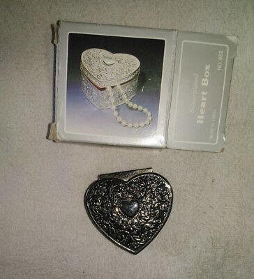 Vintage Boxed Silver Plated Small Antique Filigree Pattern Heart Jewelry Box.