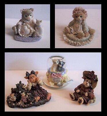 Enesco Calico Kittens & Boyds Purrstone Collection 5 Cat Collectible Lot