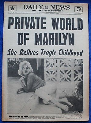 Aug. 15 1962 Marilyn Monroe New York Daily News Death Newspaper Magazine