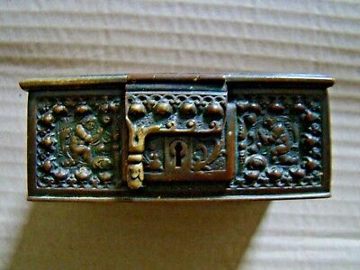 Antique small decorated French bronze box