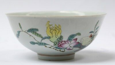 Large Fruit and Flowers apocryphal  Qianlong red mark bowl
