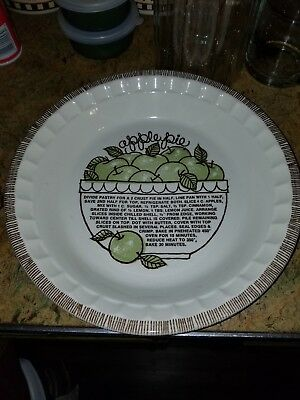 "Vintage Apple Pie Plate W Recipe Royal China By Jeanette 10"" Collectible-Perfect"