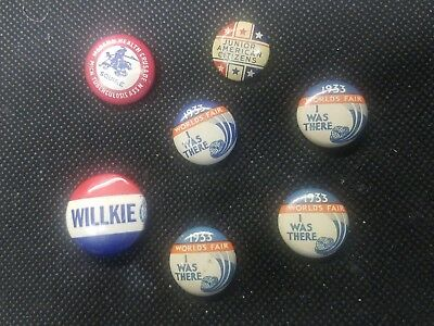 Assorted lot Willkie,worlds fair 1933, pinbacks RARE OLD!