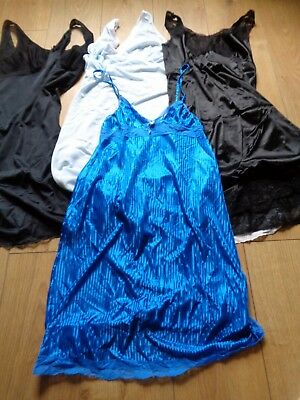 Vintage Job lot of Four Very Pretty Slips, Repair & Wear Blue Black (P33)
