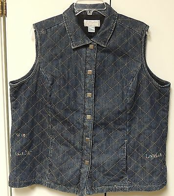 Christopher & Banks Womens Quilted Denim Vest Lord of the Rings 1X