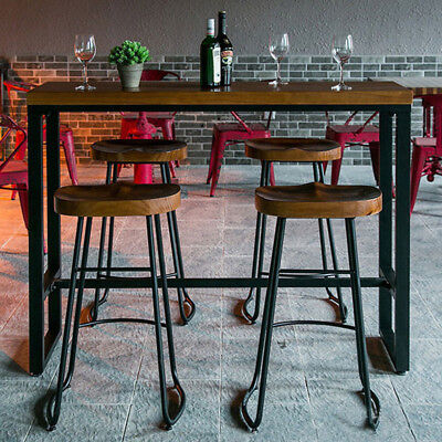 4 Set Of Industrial Vintage Rustic Retro Bar Stool Lab School Cafe Kitchen Chair