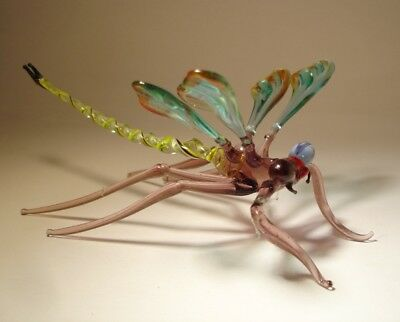 """Blown Glass """"Murano"""" Figurine Gorgeous Green and Red DRAGONFLY with Yellow Body"""