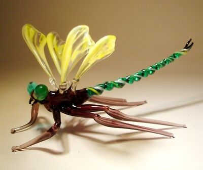"Blown Glass ""Murano"" Figurine Gorgeous Yellow & Clear DRAGONFLY with Green Eyes"