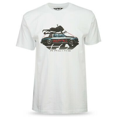Fly Snow Men's Priorities White Snowmobile Graphic Short Sleeve Tee T-Shirt