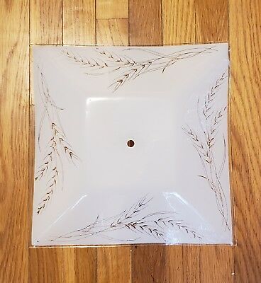 "Vintage 13.5"" Square Glass Ceiling Light Frosted Diffuser Shade Cover Wheat"