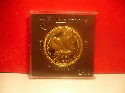 v rare 24k gold on ISLE OF MAN 1978 UNC PERAGRINE FALCON CORONATION CROWN COIN