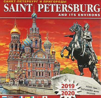 Wall Calendar 2019-2020 St Petersburg & Environs in Russian English +6 Languages
