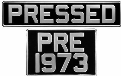 Novelty Square & Oblong Black and Silver Pressed Number Plates Car Metal Classic