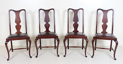 4 Antique Dining Chairs Mahogany Queen Anne Burgundy Leather