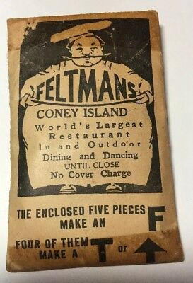 Rare Feltman's Coney Island Brooklyn Puzzle Package Complete Advertising