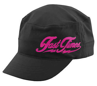 Speed & Strength Women's Fast Time Black Pink Military Style Hat Cap