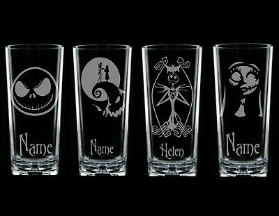 Nightmare Before Christmas JACK  & SALLY Personalised Glass etched engraved gift