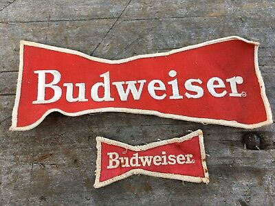 Lot Of (2) Vintage Original Budweiser Beer Large & Small Bow Tie Patches