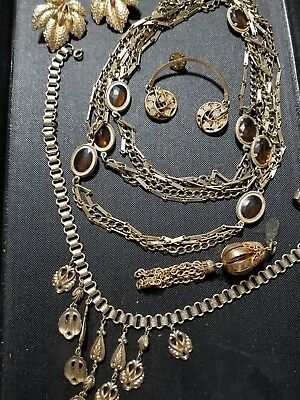 Lot of vintage antique jewelry GRANDMA'S estate Rhinestone (See Pictures) Lot AB