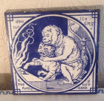 Antique Minton Blue And White Tile, Aesop's Fables, Monkey And Cat. Rare!!